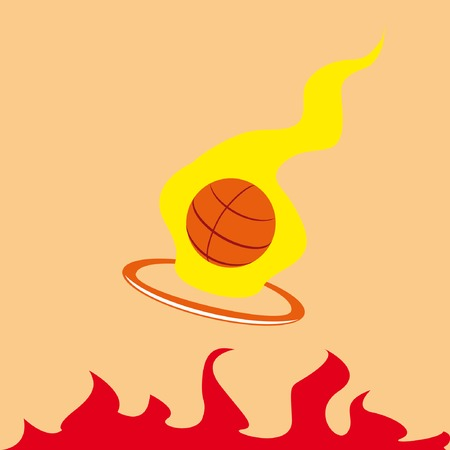 tourney: Basketball emblem with burning ball and tongues of flame
