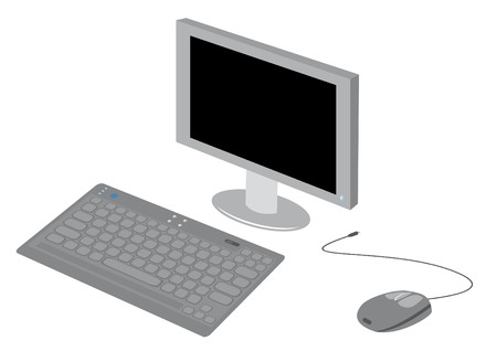 clerical: Set with clerical aids: monitor, keyboard, mouse. Vector illustration. Illustration