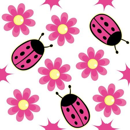 white daisy: Ladybug and pink daisy seamless wallpaper background
