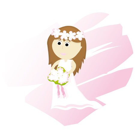 Cartoon bride with abstract heart on background Vector