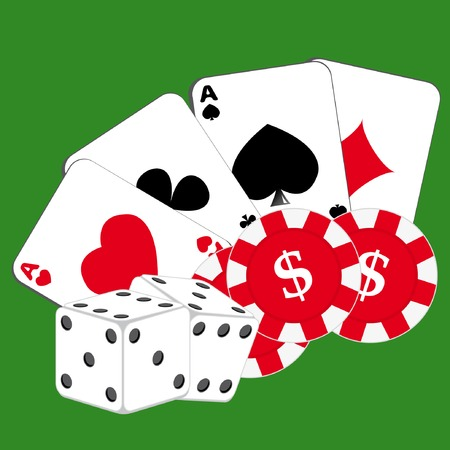 Cards, chips and dice on green background. Vector illustration. Stock Vector - 4888184