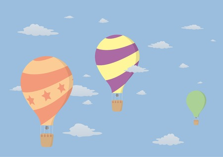 Three colored balloons in the sky Vector