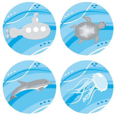 cartoon submarine: Set of underwater icons. Vector illustrations.