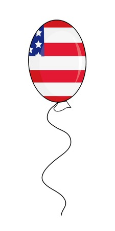 Cartoon balloon with usa flag for your design. Vector illustration. Vector