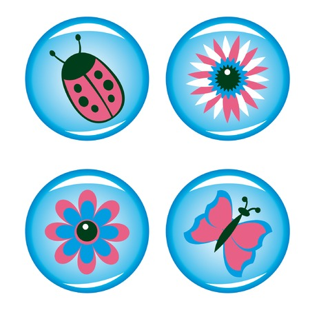 Four buttons for your design (flowers, ladybird, butterfly). Vector illustration. Vector