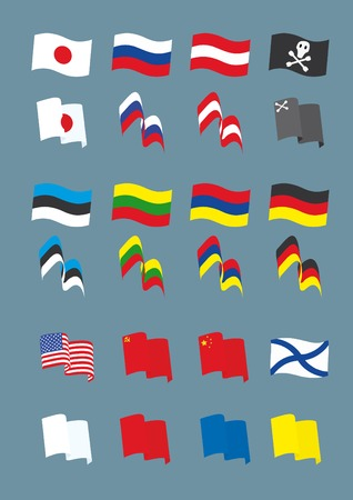 Vector set with many different flags Stock Vector - 5239344