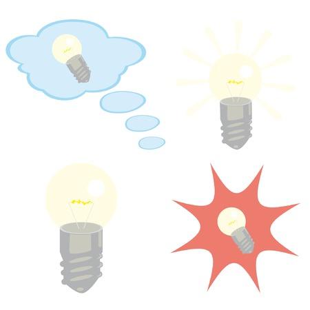 Set of lightbulb icons. Vector illustrations. Vector