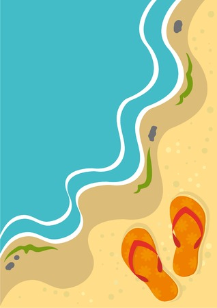 waves  pebble: Summer background with slippers on a beach. Vector illustration.  Illustration