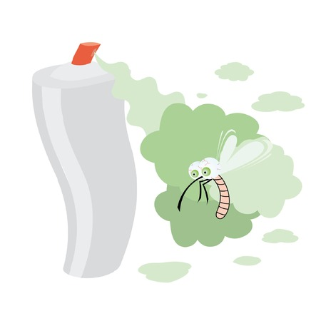 moscerino: Immagine isolato con gli spray e la zanzara goggle-eyed. Vettoriali
