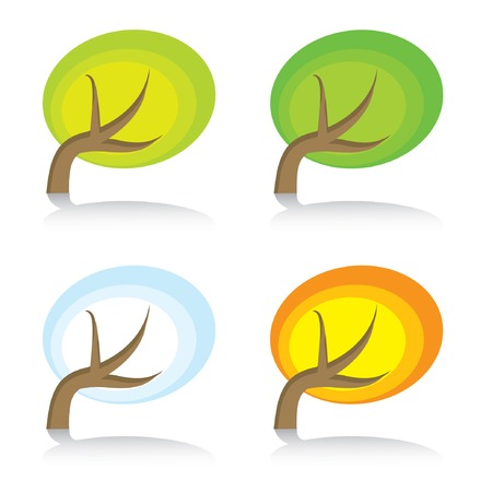 Four seasonal icons with tree. Vector illustration. Vector