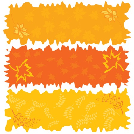Three color autumnal banners. Vector illustration. Vector