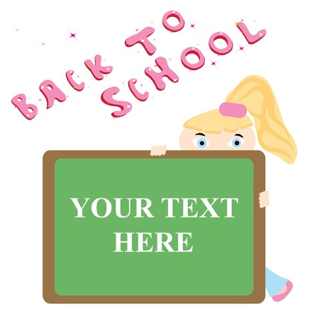 Blonde girl behind blackboard. Vector illustration. Stock Vector - 5466646