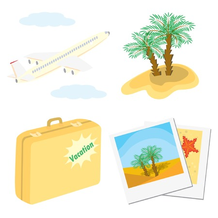 Set of color vacation icons (aircraft, palm trees, suitcase, photos). Vector illustrations. Vector
