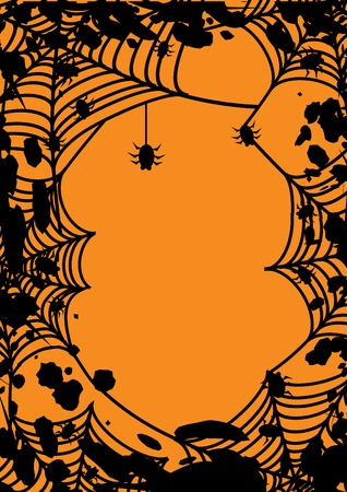 Halloween frame with spiders web. Vector illustration.  Vector