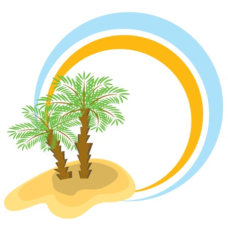Color frame with two palm-trees. Vector illustration. Vector
