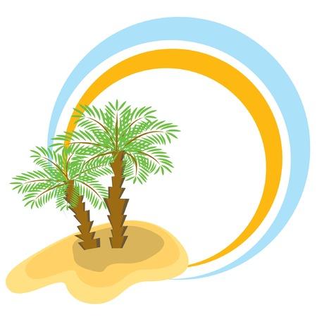palmtrees: Marco de color con dos palmeras. Ilustraci�n del vector.