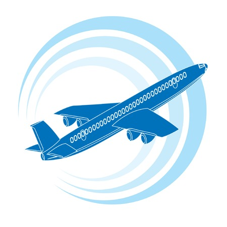 aviations: Airplane icon in blue color. Vector illustration.