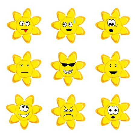 Sunny icon set. Vector illustration.