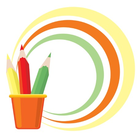 Frame with three color pencils. Vector illustration. Vector