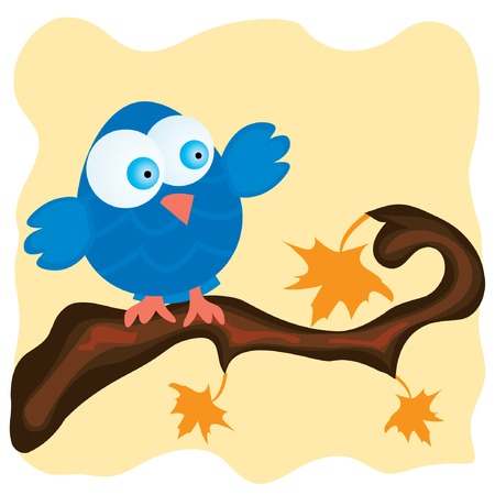 Blue bird on a branch with orange maple leaves. Vector illustration. Vector
