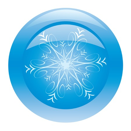 Blue shiny button with snowflake. Vector illustration. Vector