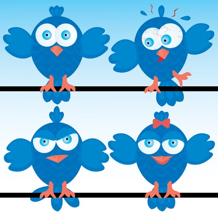 Bluebirds icon set. Vector illustration.