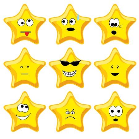 Set of nine cartoon gold stars. Vector illustration. Illustration
