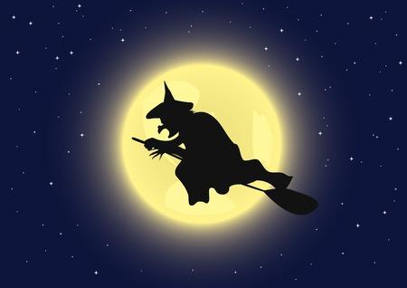 strega che vola: Una strega battenti sulla sua scopa. Illustrazione vettoriale.