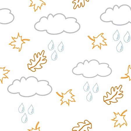 Autumnal seamless background with clouds and liaves. Vector illustration. Stock Vector - 5605844