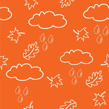 Seamless pattern with clouds and leaves on orange background. Vector illustration. Stock Vector - 5605842