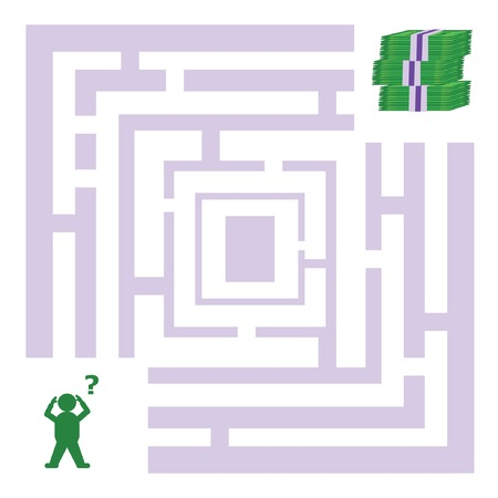 Abstract maze with a man looking for money. Vector illustration. Vector