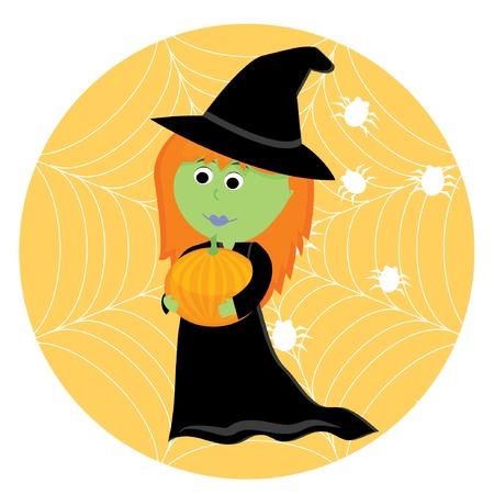 harridan: Cartoon cute little witch with pumpkin. Vector illustration