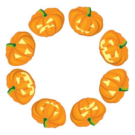 Jack-o-Lanterns frame on white background. Vector illustration Vector