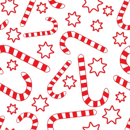 Seamless pattern with candycanes and stars. Vector illustration.
