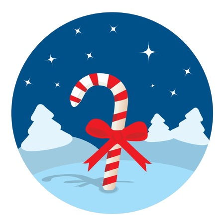 Candy cane in the night forest. Vector illustration. Stock Vector - 5909147