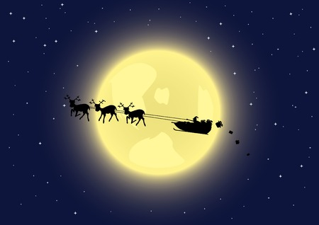 Santas sleigh in the sky. Vector illustration.