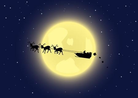 rudolph: Santas sleigh in the sky. Vector illustration.