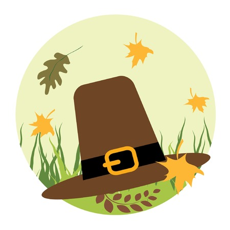 Pilgrims hat on the grass. Vector illustration. Vector