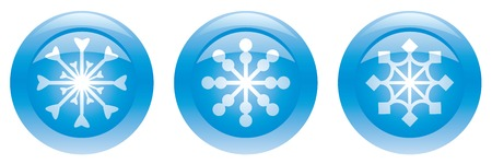 Three blue buttons with snowflakes. Vector illustration. Stock Vector - 5909161