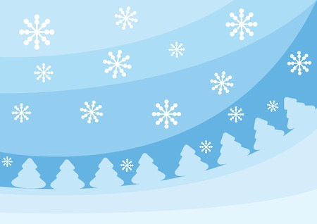 firtrees: Blue christmas background with fir-trees and snowflakes. Vector illustration for your design. Illustration