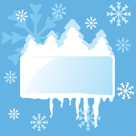 firtrees: Abstract winter frame with fir-trees, snowflakes and icicles for your design. Vector illustration. Illustration