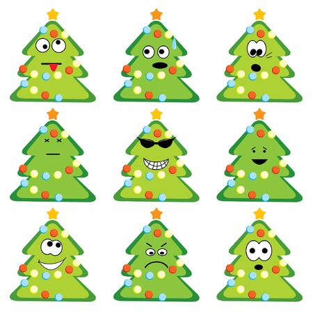 lightweight ornaments: Cartoon christmas trees set with different emotions. Vector illustration.