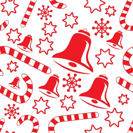 candycane: Seamless pattern with hand bells, candy canes, snowflakes and stars. Vector illustration.