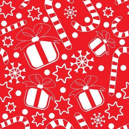 Seamless pattern with gifts, candy canes, snowflakes and stars. Vector illustration. Vector