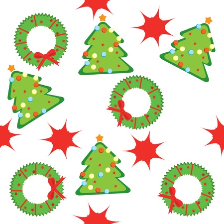 Seamless pattern with christmas trees, wreaths and stars. Vector illustration. Stock Vector - 6080603
