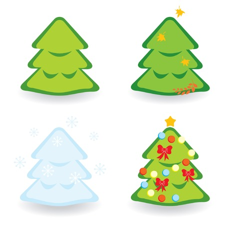 Fir-trees collection for different seasons. Vector illustration. Stock Vector - 6080588