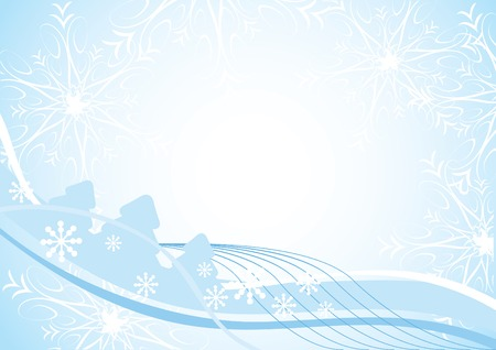 Blue Christmas background with fir-trees, snowflakes and space for text. Vector illustration for your design. Vector