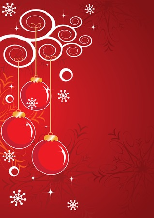 Abstract Christmas and New Years background with snowflakes, stars, decorations and space for text. Vector illustration. Vector
