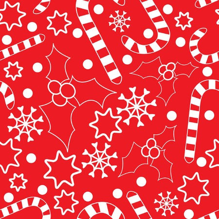 hollies: Seamless pattern with hollies, candycanes, snowflakes and stars. Vector illustration for your design.