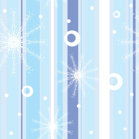 Blue winter seamless pattern with stripes, snowflakes and circles. Vector illustration for your design. Vector